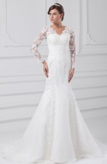 V-Neck Long-Sleeve Siren Gown With Lace Appliques