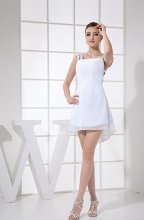 Chiffon Mini A-Line Dress with Beaded Straps and Keyhole Back