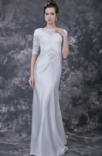 Unique Fit-and-Flare Satin Skirt Beaded Lace Bodice and Chapel Train