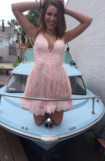 Short V-neck Lace Dress With Beading&Low-V Back