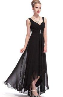 Sleeveless Asymmetrical Chiffon Dress With Illusion Style