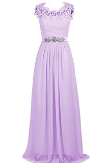 Cap-sleeve Lace Appliqued A-line Gown With Beaded Band