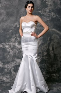 Sweetheart Mermaid Satin Wedding Gown With Beaded Waist