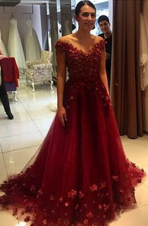 Glamorous Off-the-Shoulder Burgundy A-Line Prom Dresses 2016 Tulle Appliques