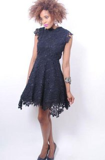 Vintage Inspired Black Lace Crochet Mini Dress