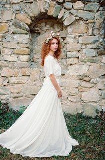 Boho Non-Corset A-Line Chiffon Wedding Dress With Pleats