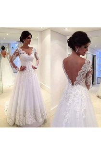 Fabulous Long Sleeve Pleated Long Lace Dress With Low-v Back Style