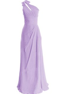 One-shoulder Side-drapping Chiffon A-line Gown With Bow