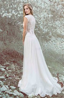 Chiffon Satin Floral Lace Wedding Dress