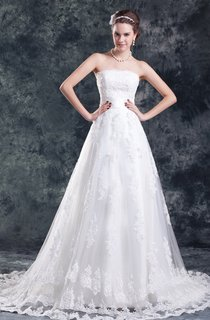 strapless appliqued a-line dress with court train and tulle
