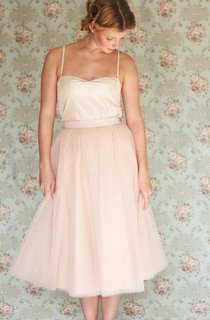 Tea-length Spaghetti Strap Tulle Dress