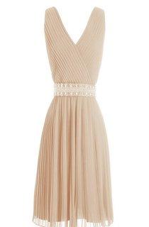 Sleeveless V-neck Short Dress With Pearls