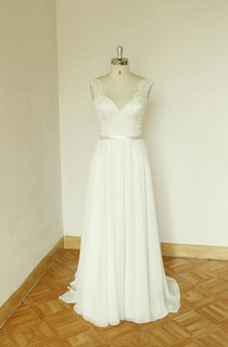 V-Neck Sleeveless Long Chiffon Wedding Dress With Sash And Deep-V Back