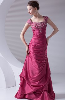 Caped-Sleeve Taffeta Pick-Up A-Line Gown with Embroideries