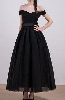 A-line Ball Gown Tea-length Off-the-shoulder Tulle&Satin Dress