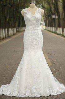 V-neck Sleeveless Mermaid Lace Wedding Dress With Satin Sash