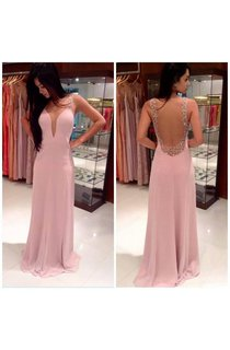 A-line Princess Straps Sleeveless Beading Floor-length Chiffon Dresses