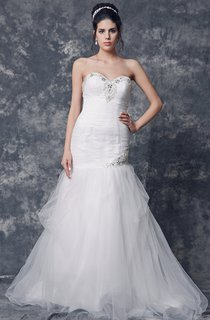 Chic Strapless Sweetheart English Net Ruched Slim Gown With Embroidery