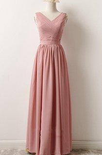 Short Maxi V-neck Chiffon Dress