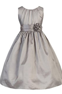 Sleeveless A-line Pleated Taffeta Dress With Flower