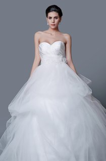 Enchanting Backless Satin and Tulle Ball Gown With Flower Belt