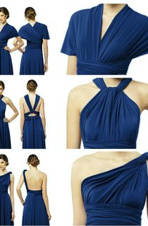 Elegant A-Line Chiffon Evening Dresses Floor Length Convertible Bridesmaid Dresses