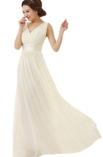 Sleeveless V-neck Empire Chiffon Dress With Pleats