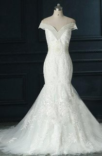 Off-The-Shoulder Tulle Lace Organza Satin Dress With Appliques
