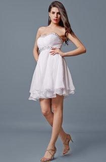 Beaded Sweetheart Neck Empire Short Chiffon Dress With Tier