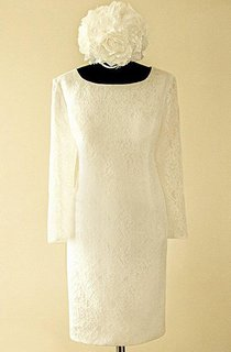 Short Long Sleeve Lace Satin Weddig Dress With Zipper