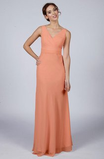 Peach Classic Long Bridesmaid Dress
