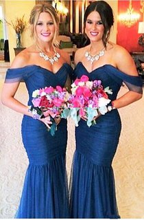 Sexy Off-shoulder Mermaid Bridesmaid Dress Floor-length With Tulle