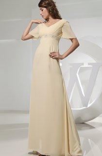 V-Neck Strapless Empire Chiffon Dress With Beading
