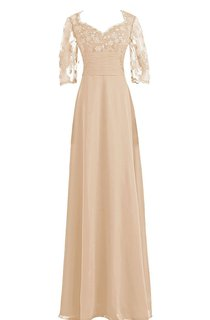 3 4 Lace Sleeve Full Length Gown With Ruched Waist