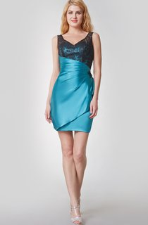 Enchanting V-neck Ruffled Short Satin Dress With Deep-v Back