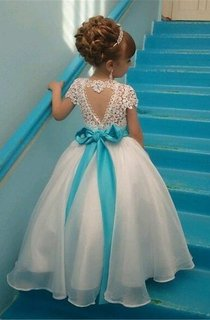 Cap Sleeve Lace Bodice Organza Ball Gown