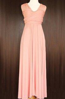 Peach Bridesmaid Convertible Wrap Full Length Dress