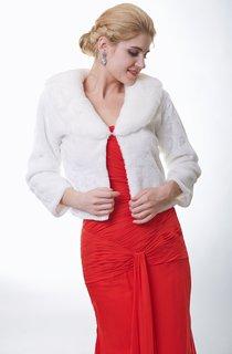 Long Sleeve Ivory Faux Fur Wrap
