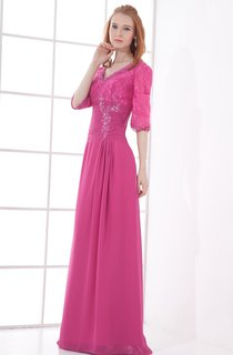 v-neck long half-sleeve dress with lace with