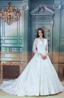 Plunged Long-Sleeve Lace Ball Gown with Beading and Illusion