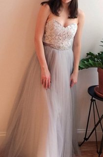 Gray Lace Strapless Wedding Vintage Boho Style Dress