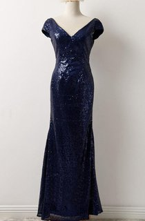 Short Sleeve Sequins Long Dress With Low-V Back