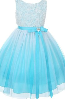 Sleeveless A-line Tulle Dress With Pleats and Bow