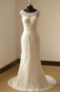 Bateau Neck Cap Sleeve Fit and Flare Lace Wedding Dress