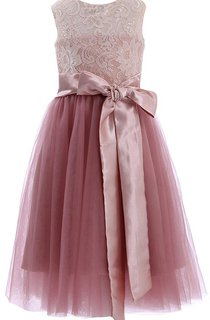 Sleeveless A-line Lace Dress With Bows and Key-hole Back