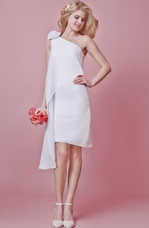 Stunning Short Two-Tired Dress With 3-Dimensional Floral Accent