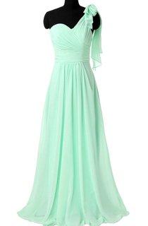 Unique Mint Bridesmaid Long One Shoulder Chiffon Convertible Prom Dress