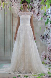 High-Neck Cap Sleeve A-Line Lace Wedding Dress With Court Train