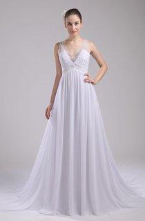 Fairy V-Neck Sleeveless Chiffon Dress With Beading and Pleats