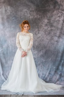 Bateau Neck Long Sleeve A-Line Organza Wedding Dress With Lace Bodice